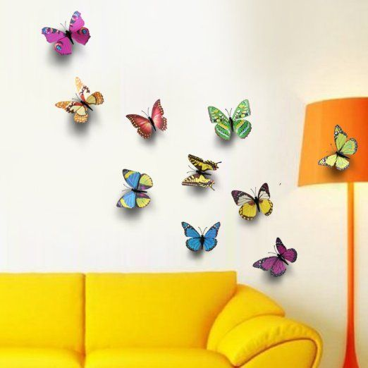 Walplus 3D Shine Butterflies Wall Stickers
