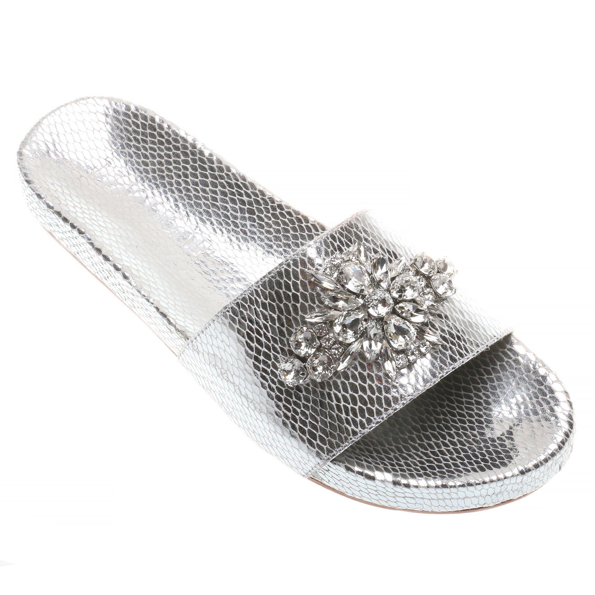 299c3bc08 Mauritius - Women s Silver Pool Slide Gem Sandals