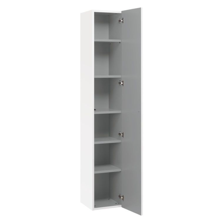 Tall White Wooden Narrow Cabinet With Single Rectangle Grey Door And