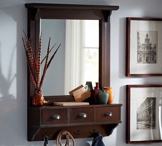 Pottery Barn Pine And Iron Wall Mounted Jewelry Hanger: Wall-Mount Entryway Organizer Mirror