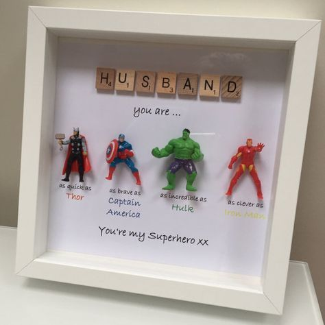 avengers superhero figures frame gift ideal for dad. Black Bedroom Furniture Sets. Home Design Ideas