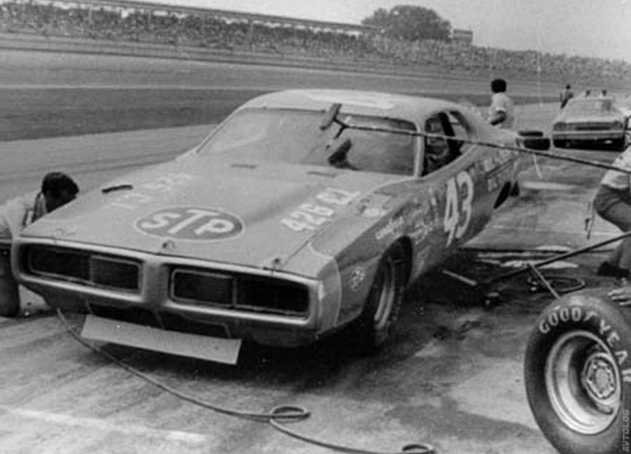 """1969 Dodge Charger Daytona. No way! That's Petty""""s 1973 Daytona 500 winning #43."""