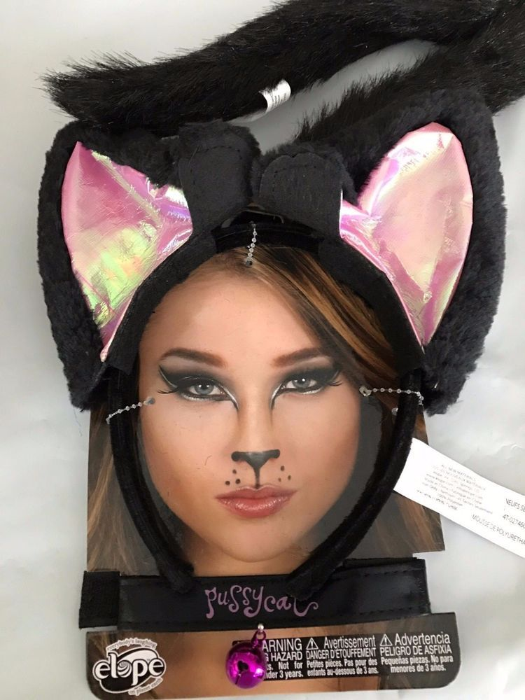 Details About Costume Cat Kit Large Kitty Ears Headband Collar