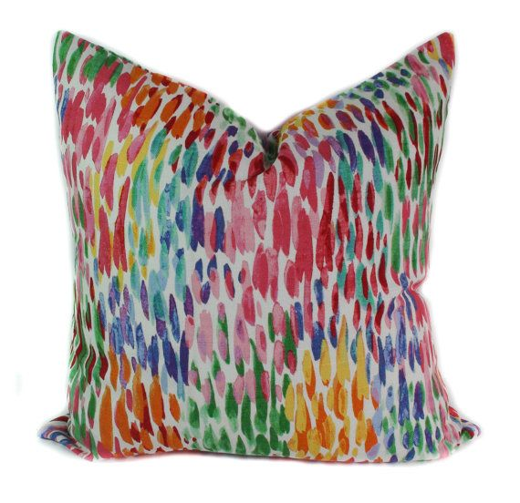 Sofa Beds Blue pillow cover Yellow throw pillows Red couch by PillowCorner