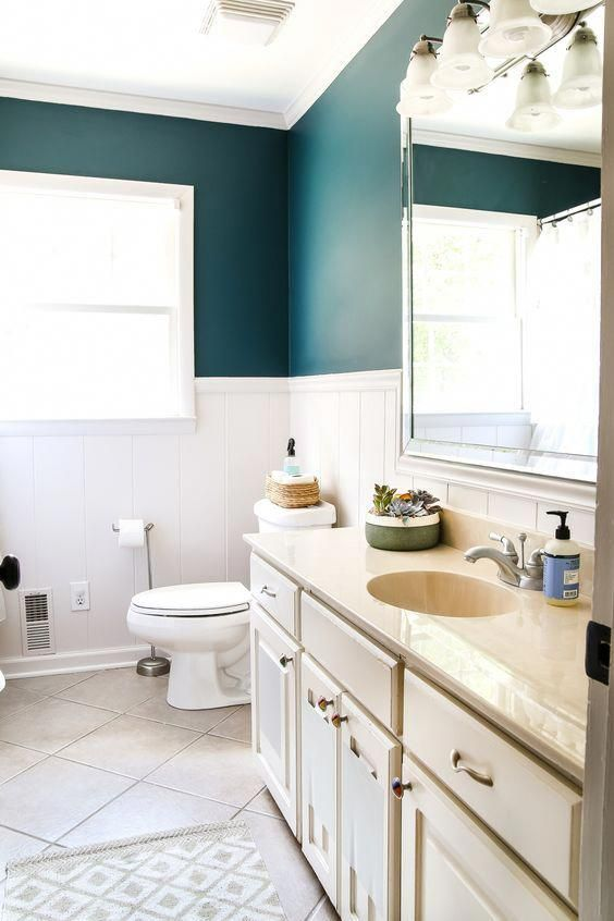 Teal Painted Bathroom Makeover - Bless'er House