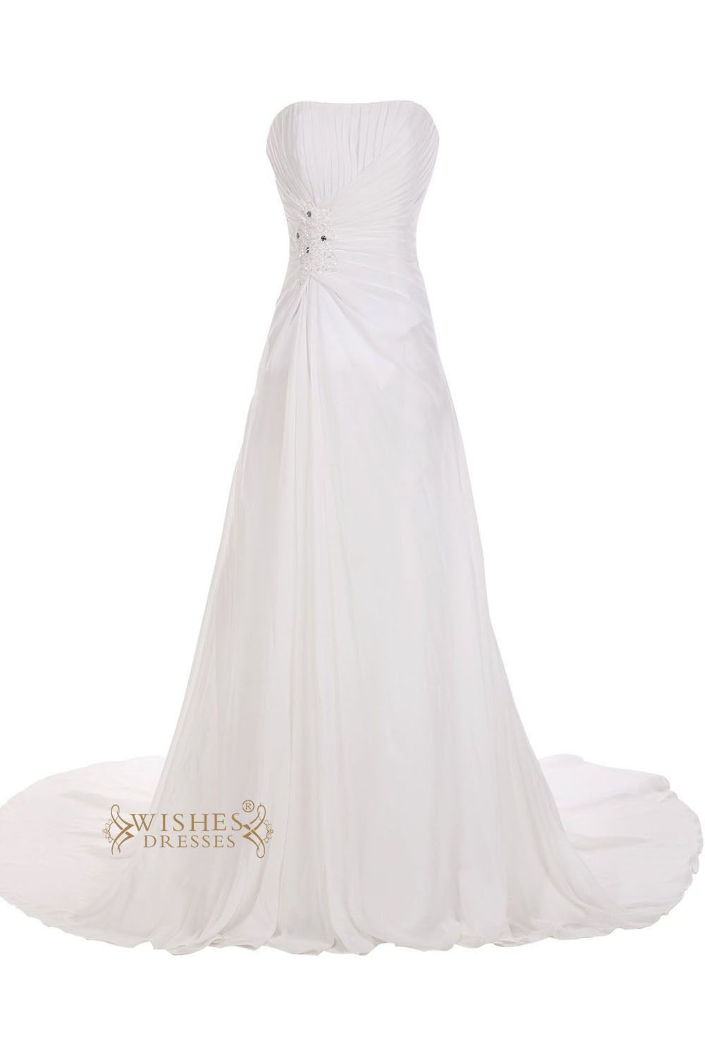 Strapless Chiffon Bridal Gown With Chapel Train And Corset Back
