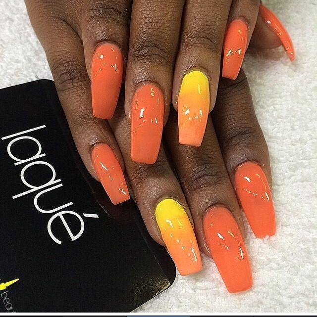 Yellow And Orange Ombre Nails