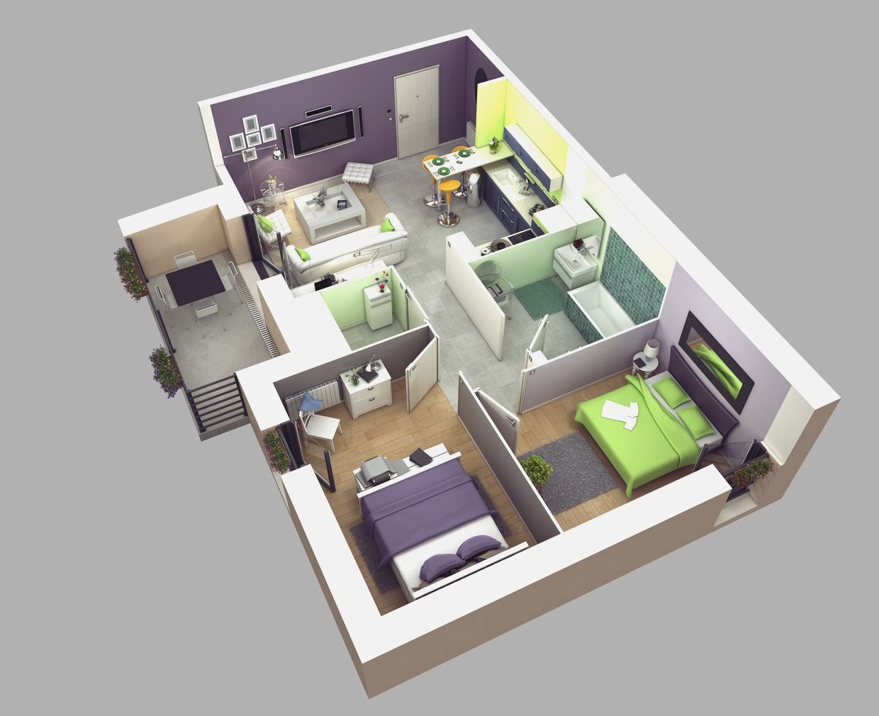1 bedroom house plans 3d just the two of us apartment for Modern 2 bedroom home designs
