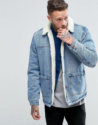ASOS - Veste en jean à doublure imitation peau de mouton - Bleu délavé 12e487159a64