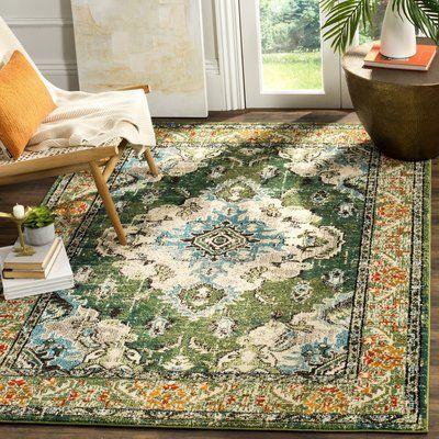 "Bungalow Rose Shakti Green/Light Blue Area Rug Rug Size: Round 6'7"" x 6'7"""