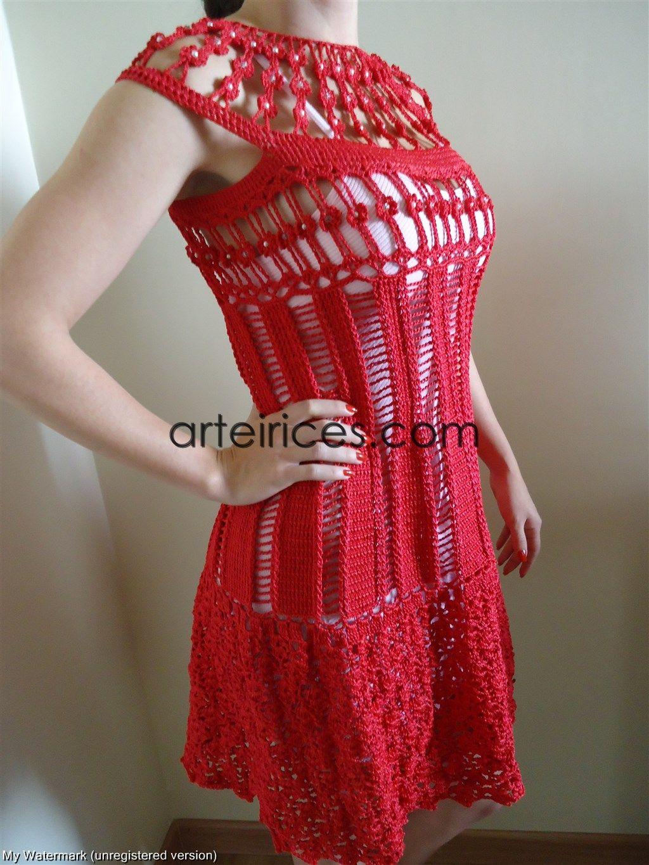 vestido de croche vermelho - Pesquisa Google