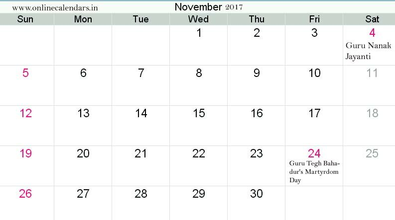 Check and download Pdf file : www onlinecalendars in | November