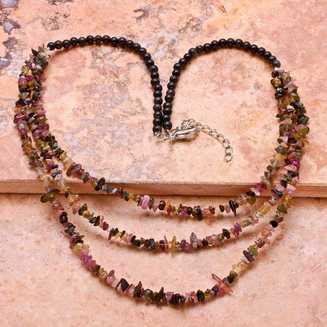 "20"" Inch Natural Black Onyx Tourmaline Gemstone Necklace"