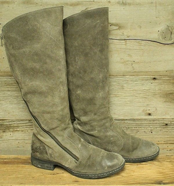 66447596c7bb BORN LAURETTE WOMENS GREY SUEDE SIDE ZIP MID CALF BOOTS SZ 9.5  fashion   clothing  shoes  accessories  womensshoes  comfortshoes  ad (ebay link)