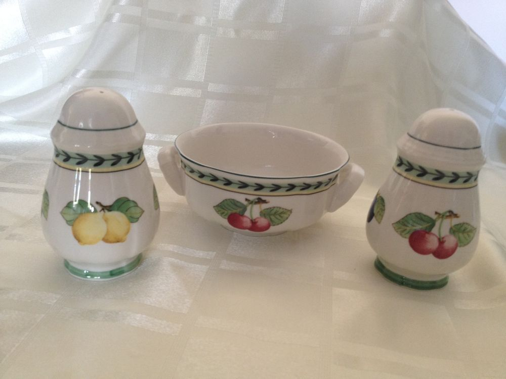 Villeroy boch porcelain salt pepper pot bowl with for Villeroy boch french garden