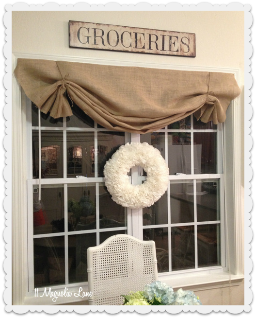 Living In A White Box Mini Blind Madness Kitchen Window Valances Diy Window Treatments Burlap Valance