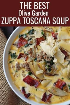 Olive Garden Zuppa Toscana Soup Copycat Recipe.  A favorite Italian hearty soup made with sausage potatoes and bacon in a rich flavorful cream broth. This is one of the most popular soup recipes! This copycat Olive Garden Zuppa Toscana recipe will be sure to please! #zuppatoscanasoup