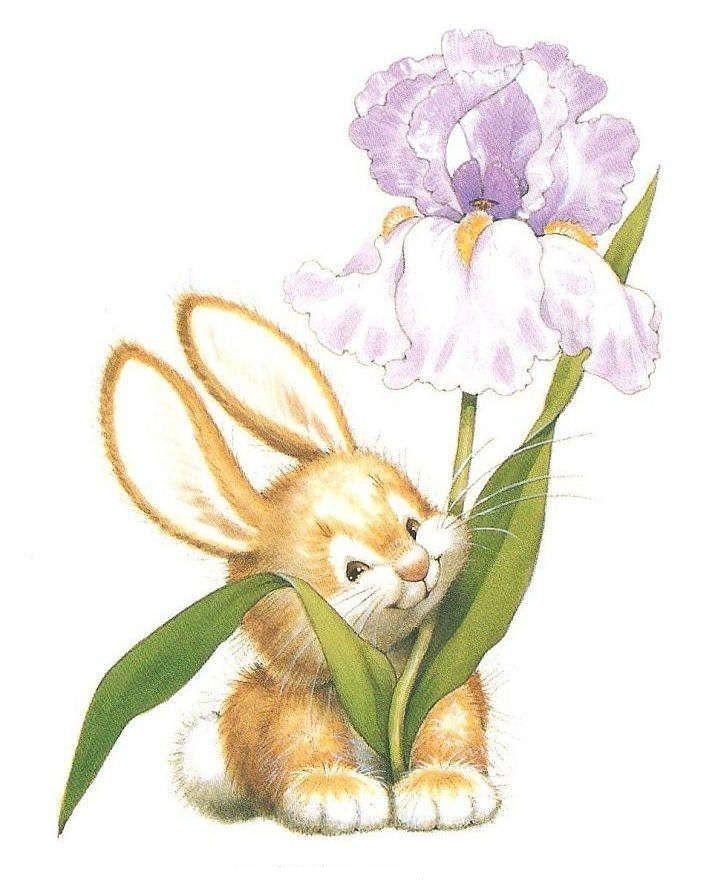 его открытка заяц с букетом цветов будет стоять под