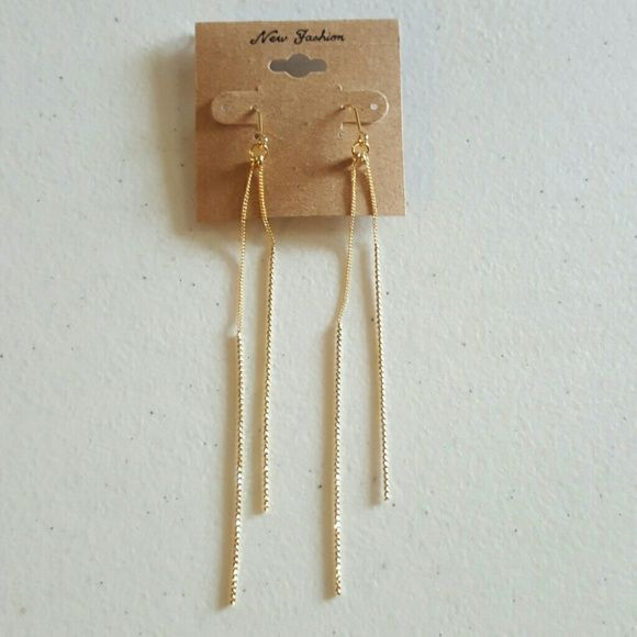 Long Double Bar Thread Gold Color Earrings Metal color is gold and size of them is 4 1/2 inches long. Jewelry Earrings