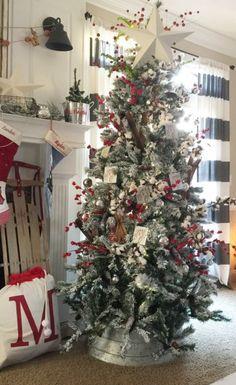 Galvanized Rustic Christmas Tree Farmhouse Christmas Decor Country Christmas Trees Rustic Christmas Tree