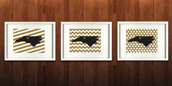 WinstonSalem North Carolina Set of Three Giclée by PaintedPost, $37.00 #paintedpoststudio - Wake Forest University - Demon Deacons - What a great and memorable gift for graduation, sorority, hostess, and best friend gifts! Also perfect for dorm decor! :)