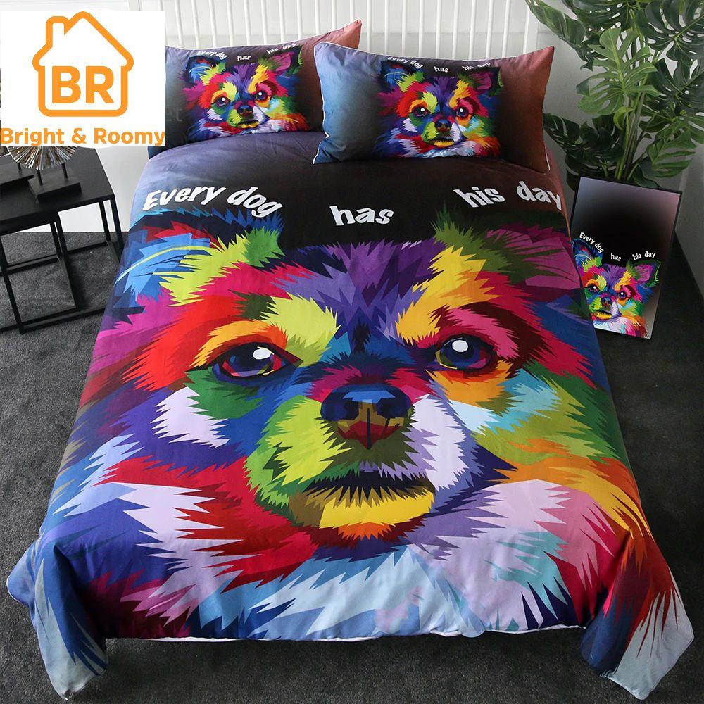 Watercolor Pomeranian Bedding Set 3pcs Duvet cover sets