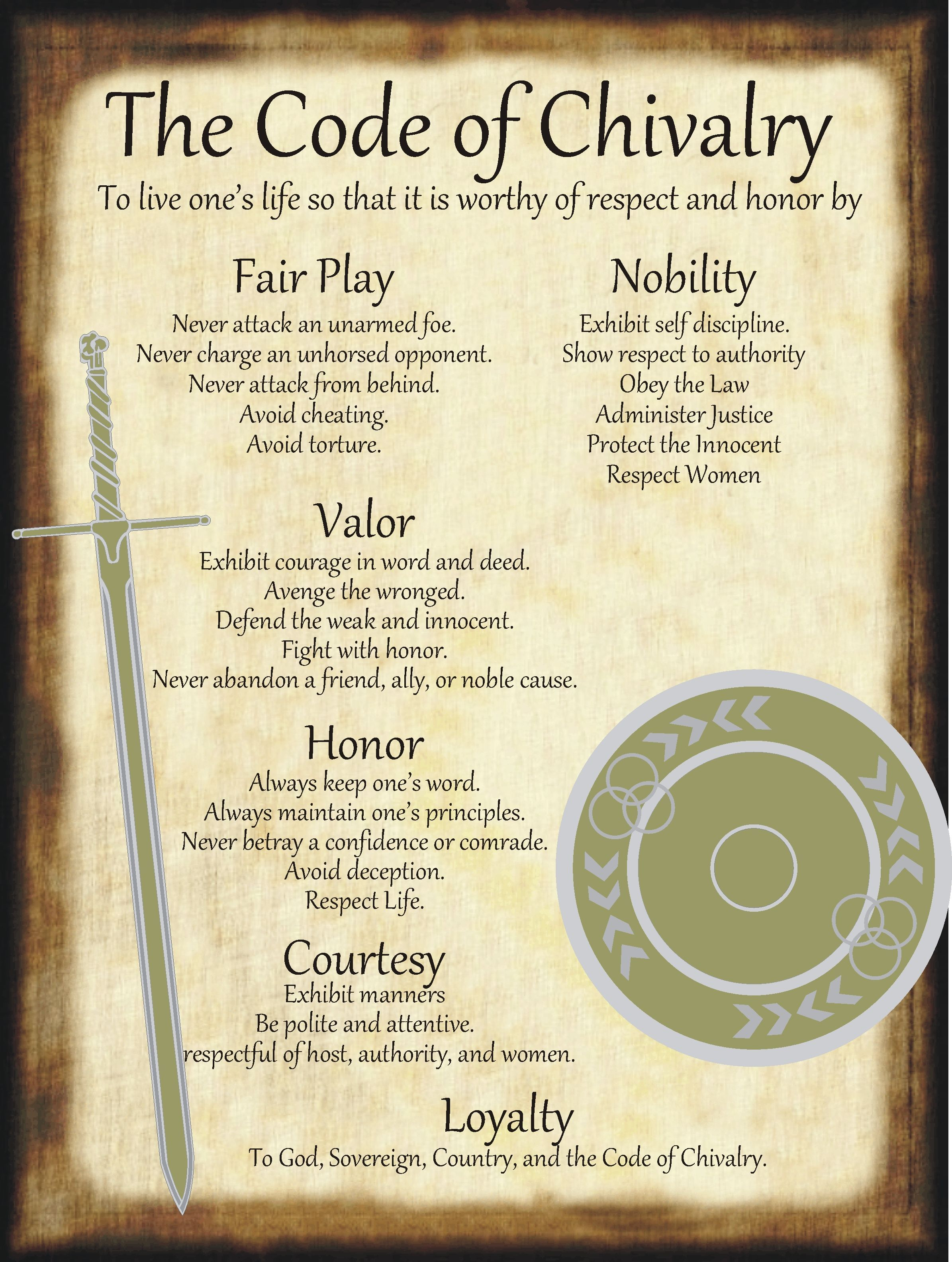 The Code of Chivalry for homemade Halloween Spell Book. #chivalryquotes The Code of Chivalry for homemade Halloween Spell Book. #chivalryquotes