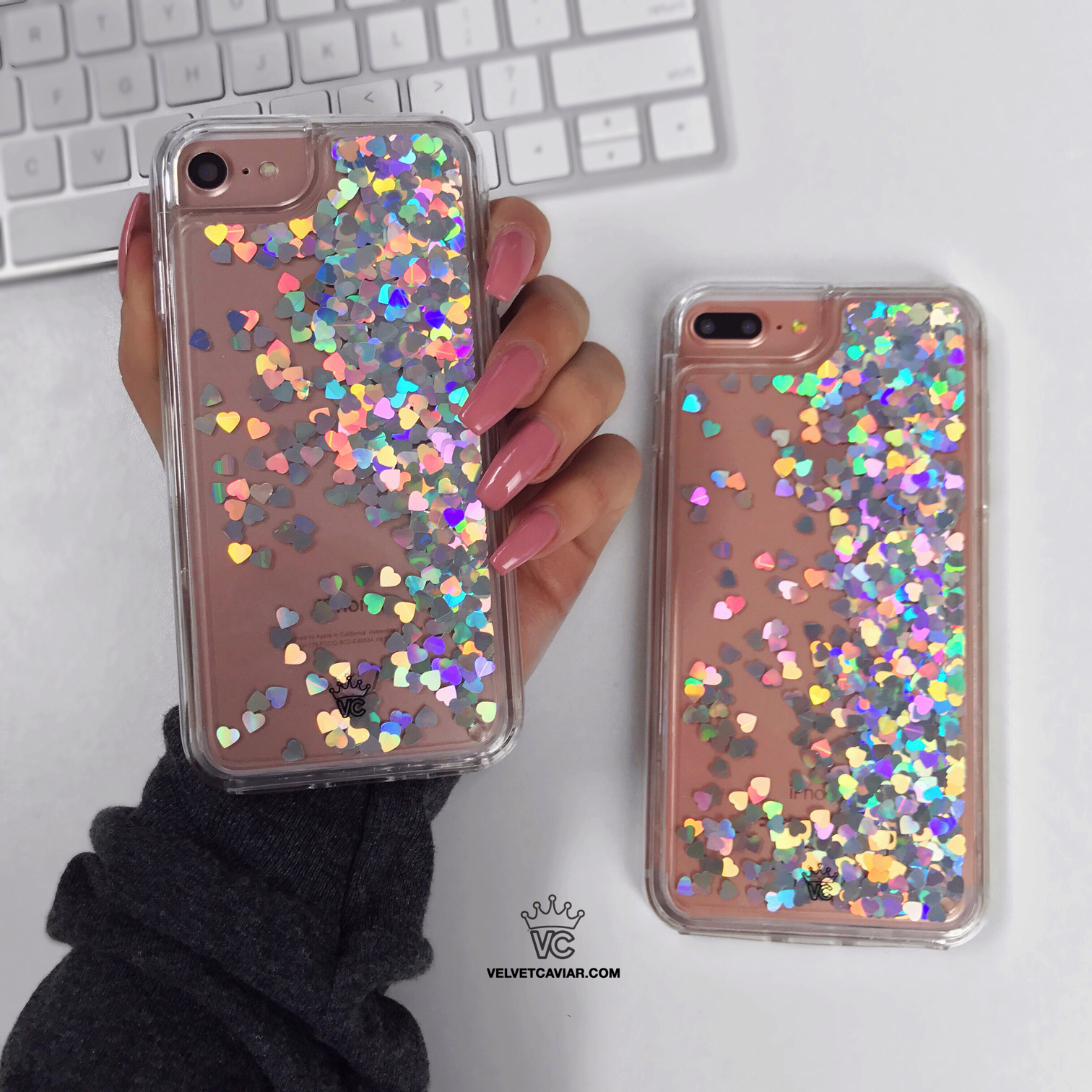 Bring on cascades of glamour and fabulousness with our holo hearts liquid glitter  case for the iPhone! Featuring a clear layer riddled with colorful ... 07342521cfb5