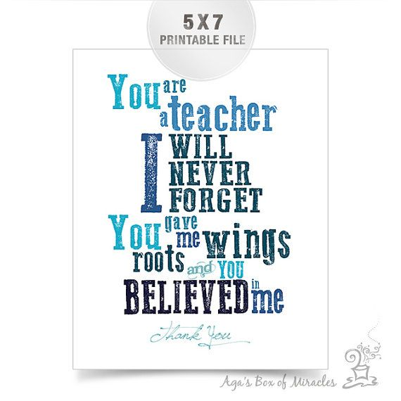 Free Thank You Quotes And Sayings: Blue Teacher Appreciation Printable / Thank You Teacher