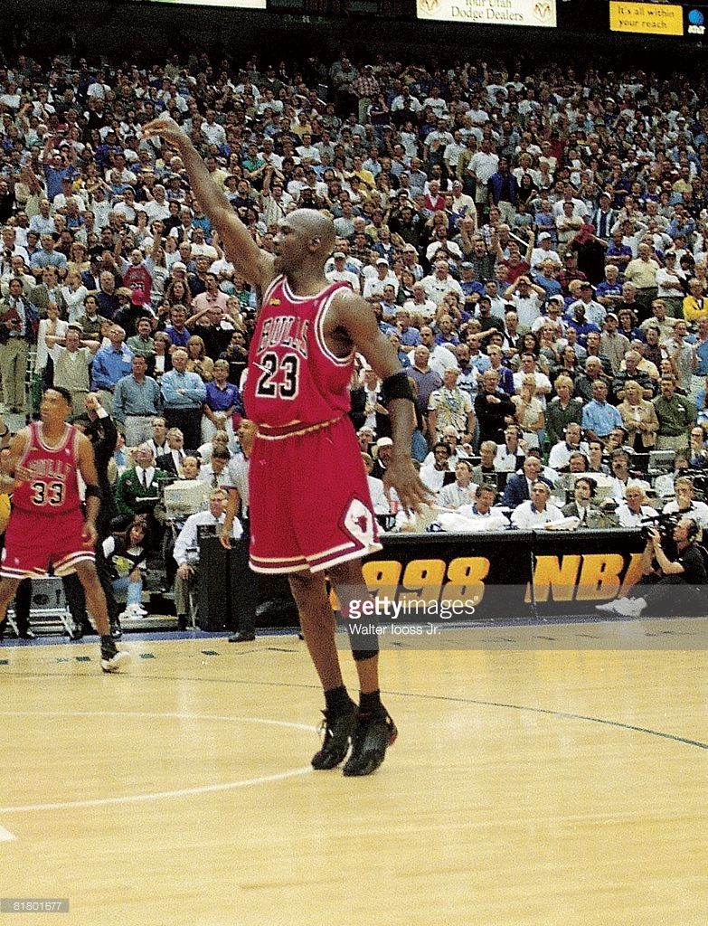 NBA finals, Chicago Bulls Michael Jordan (23) in action, taking game winning shot vs Utah Jazz, Salt Lake City, UT 6/14/1998