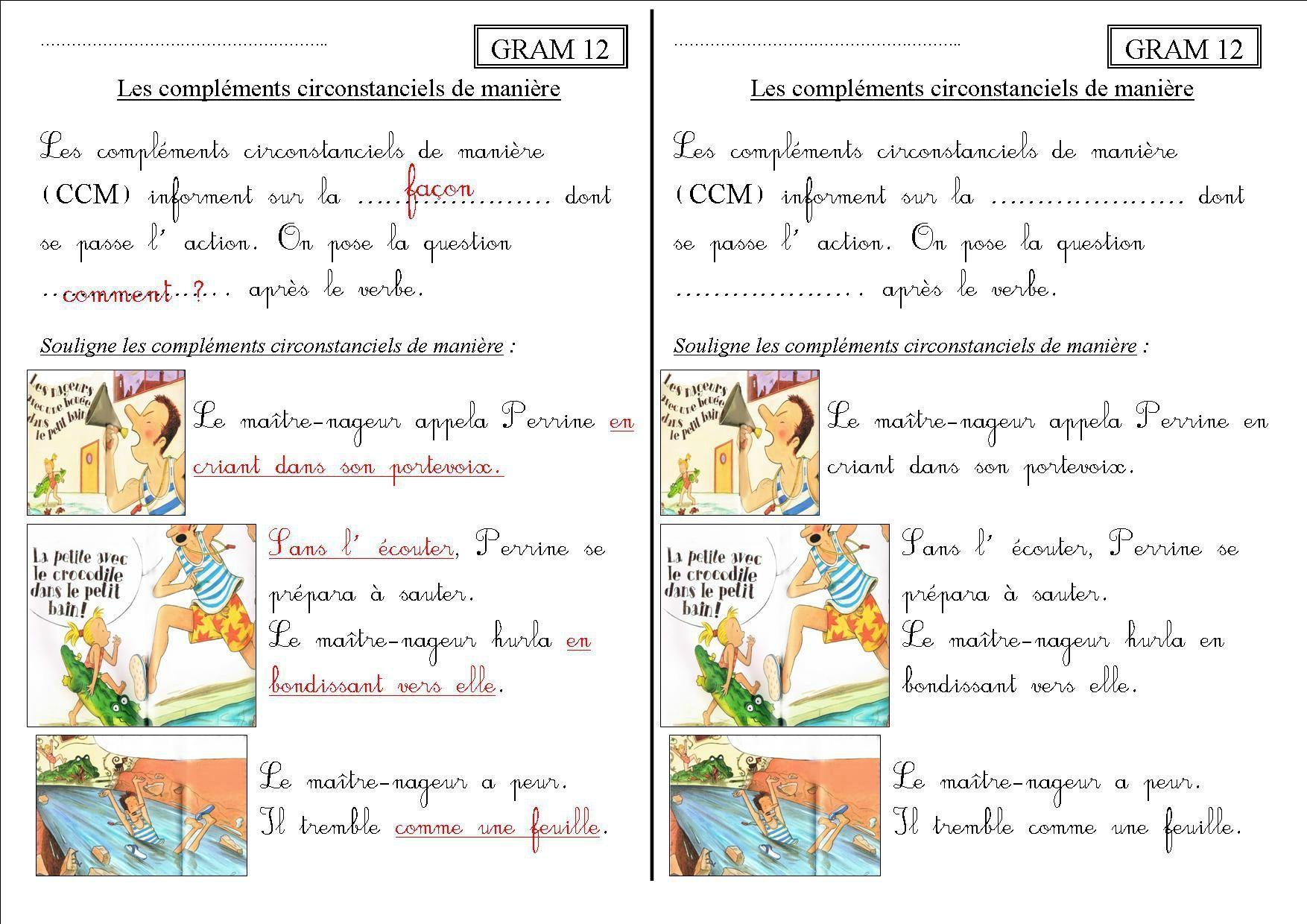 GRAM 12 CE1 : les compléments circonstanciels de manière ...