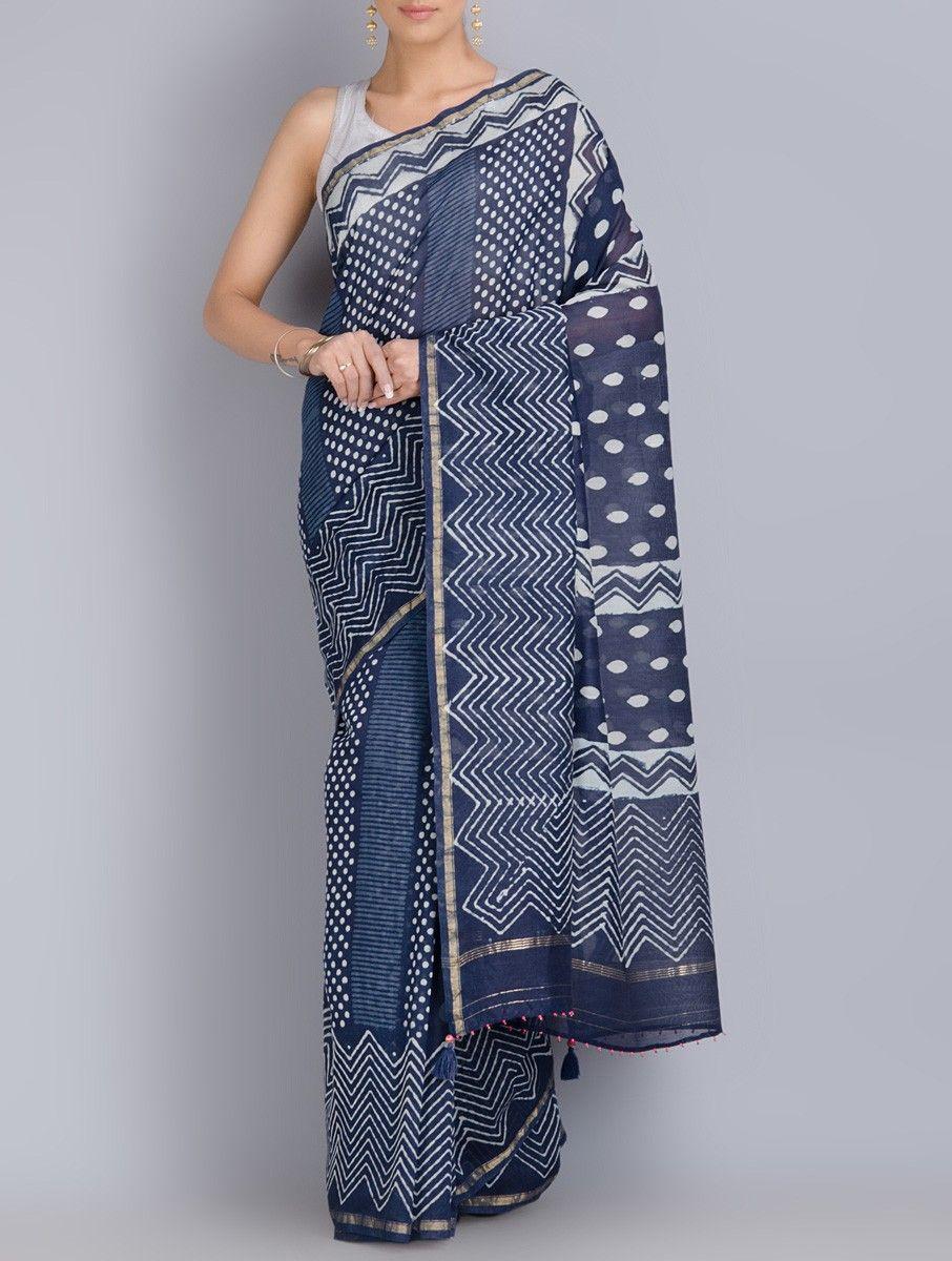 1e1a7b9d15 Buy Indigo Bagru Printed Chanderi Saree with Zari Border Online at  Jaypore.com