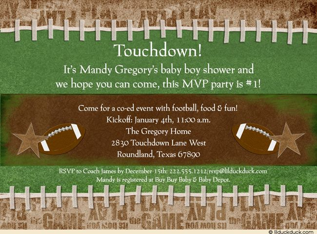 Co Ed Football Baby Shower Invitation Game Mvp Party 1 Design