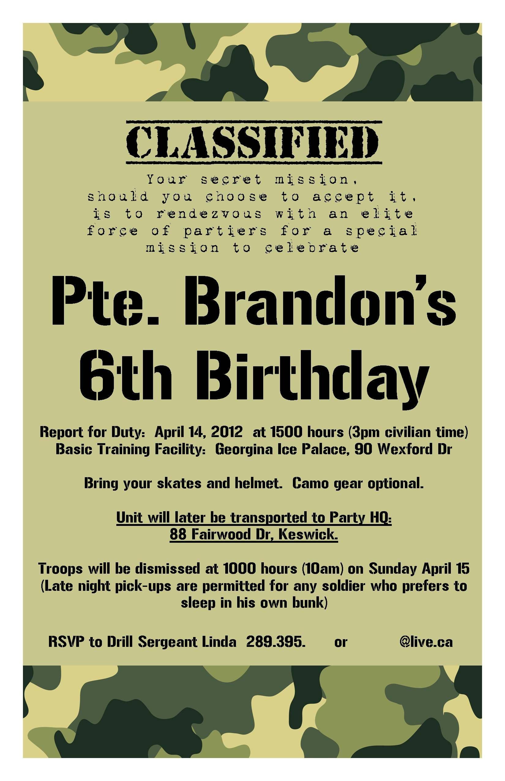 Final Draft of Bs Camo Army Guy Birthday Party Invitation