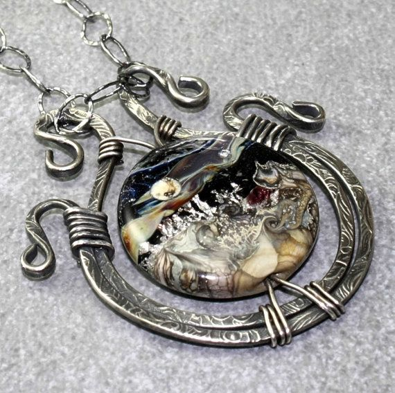 Artisan Sterling Silver Lampwork Pendant The Lost Key of Quaoar, made by myself with a gorgeous moon focal from Beadles.
