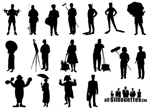Person vector. Working people silhouette free