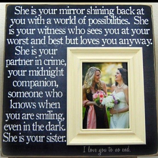 Sister In Law Wedding Gift: Makes Me Think Of My Sister In Law!!