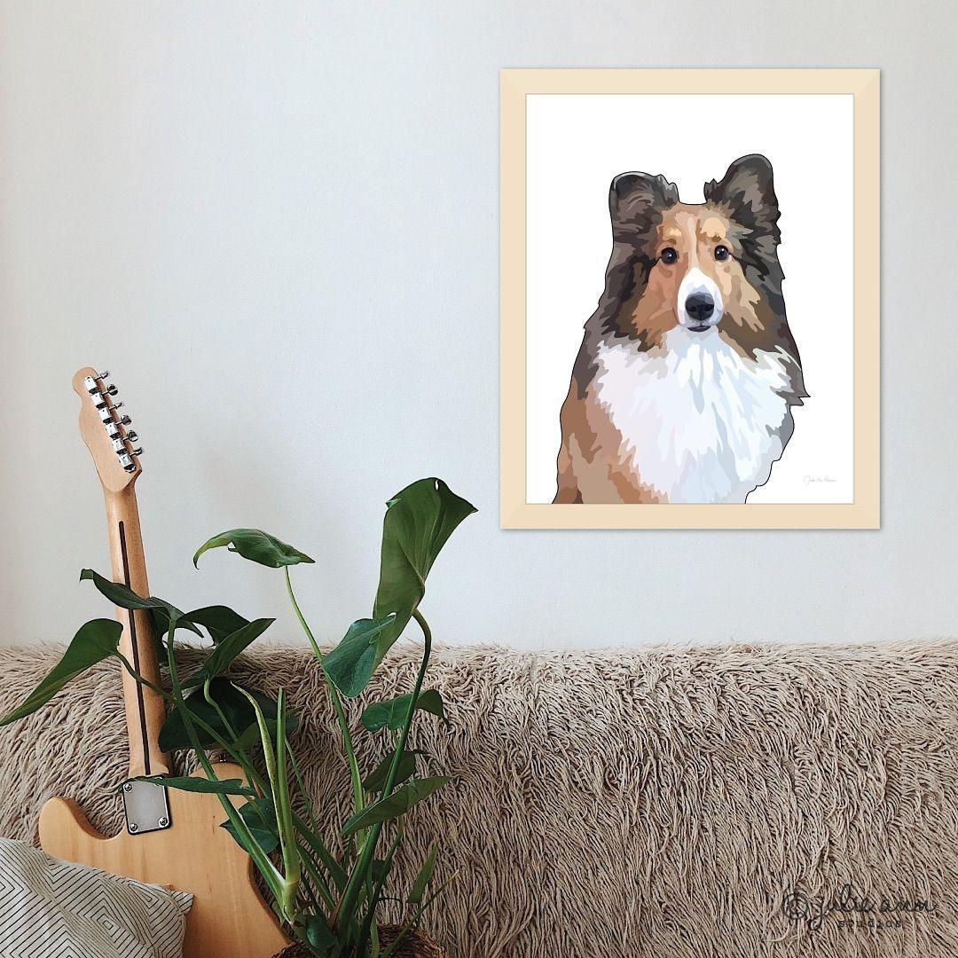 Print Sheltie Shetland Sheepdog Dog Puppy Art Picture