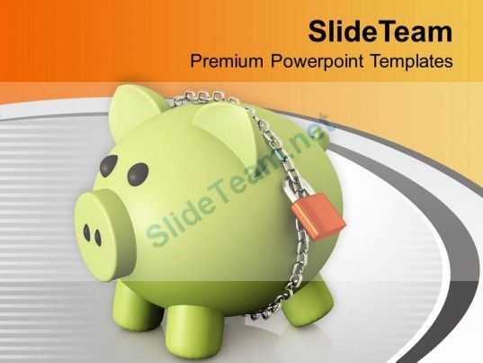 locked money bank for retirement powerpoint templates ppt themes, Modern powerpoint