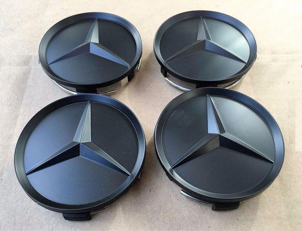 WHEEL CAP EMBLEMS BLACK 75MM FOR MERCEDES CLS CLASS CARS