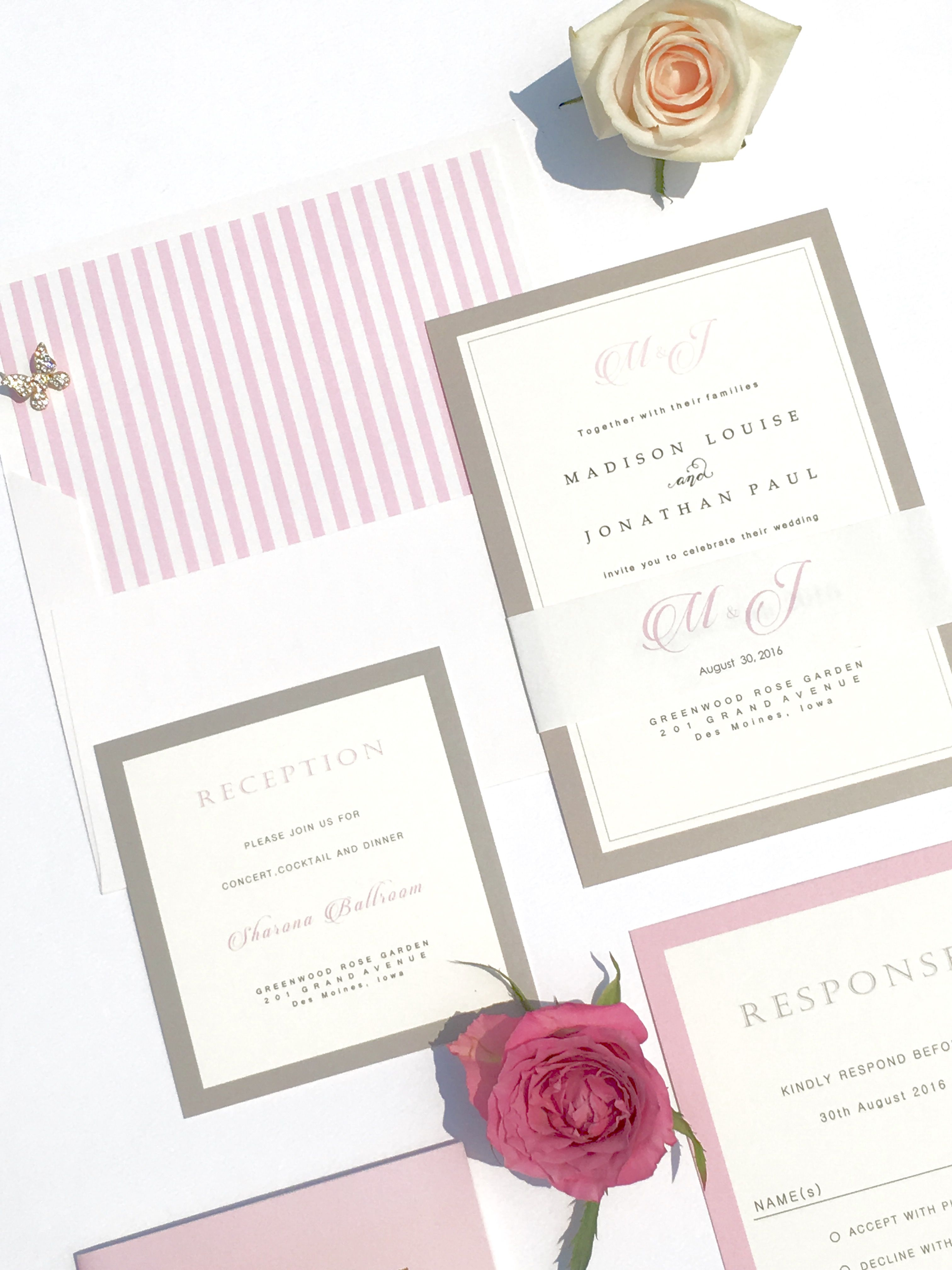 Grey and Pink Ombre Wedding Invitation | Wedding Invitations ...