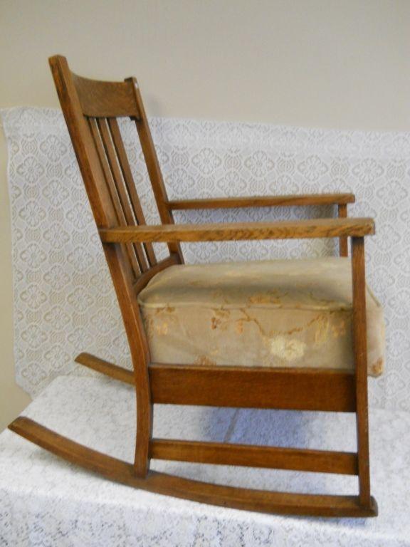 Antique Mission Oak Style Rocking Chair