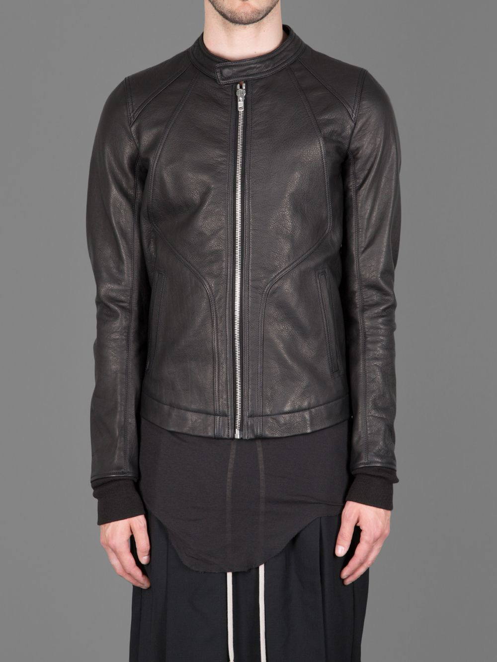 Rick Owens 'Intarsia' Leather Jacket. Leather jacket