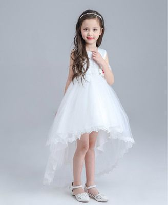 Children White Maxi Dress Skirt Princess Short Girls Wedding Dress ...