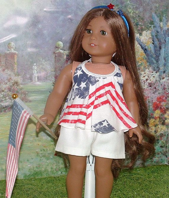 July 4th Top and Shorts with Headband and Flag by MyGirlClothingCo
