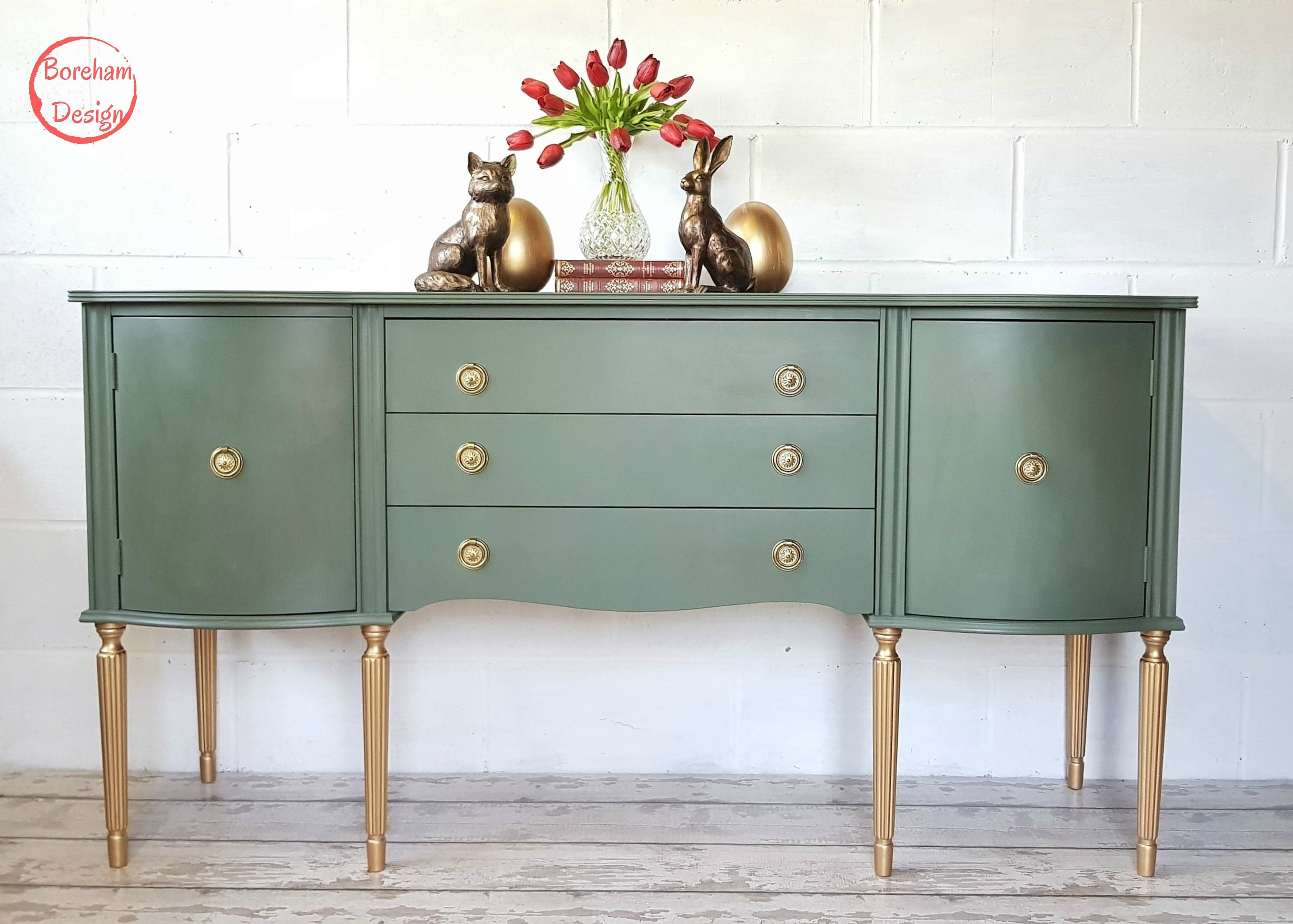 Upcycled Bow Fronted Sideboard in Bayberry Green. #fusion ...