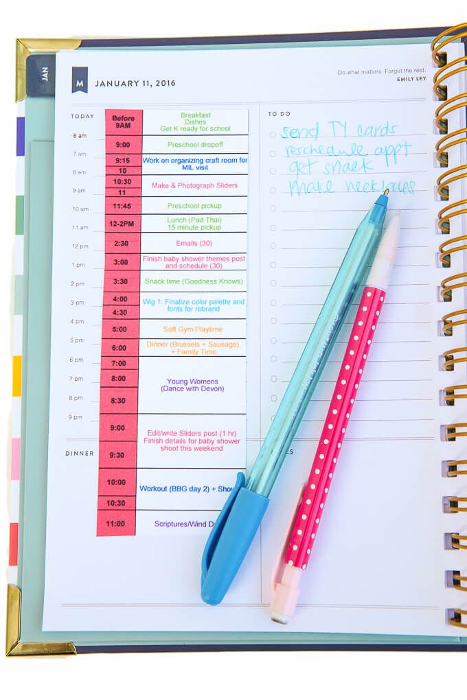 creating a weekly schedule