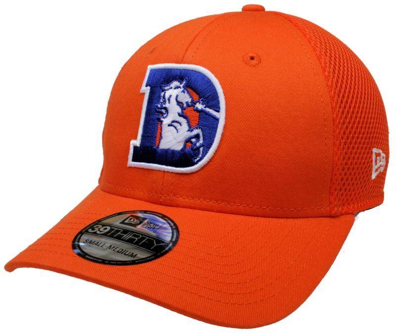 ea4da3723bb 1 NFL New Era 39Thirty Old-D Logo Denver Broncos Mesh Neo Stretch Fit Hat  Sz S M