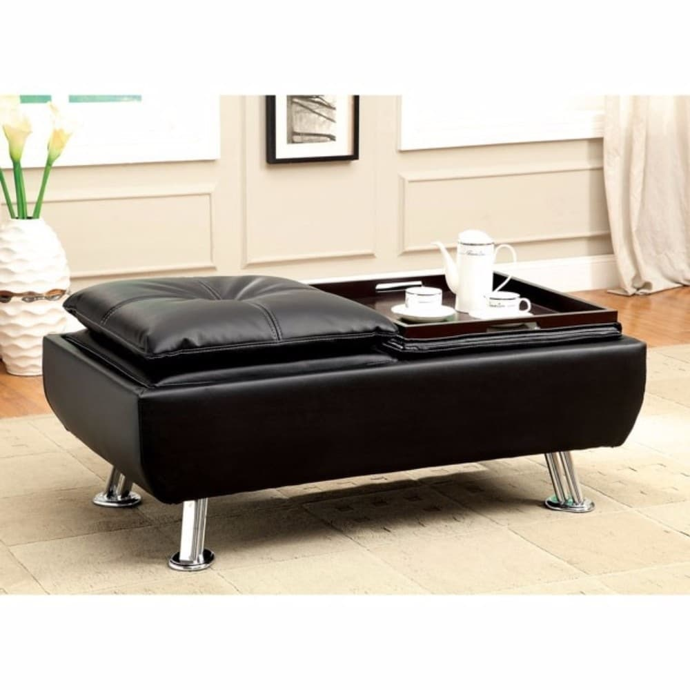 Modish Leatherette Ottoman With Tray Black Furniture Black