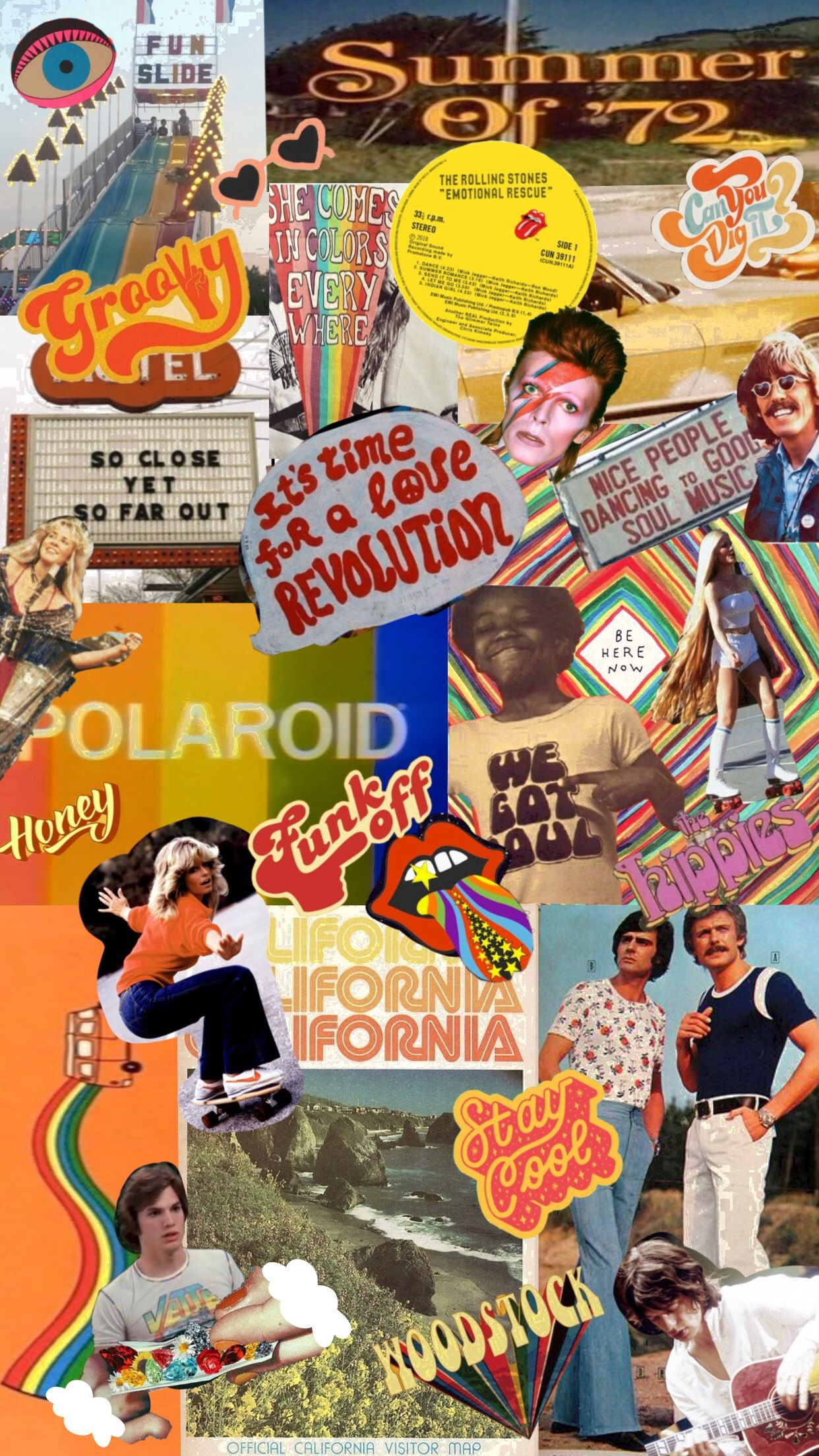 1970s Collage Retro Wallpaper Wallpapers Vintage Aesthetic Wallpapers